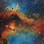 IC1848 Soul Nebula Center  Ha OIII SII Tri Color Image  Ha 9.3 hrs  OIII 4.6hrs  SII 6.3hrs  Total Image Time 20.2hrs