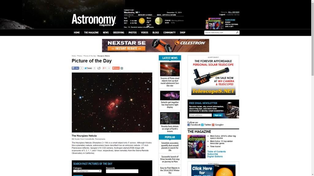 Astronomy Magazine Hourglass 2013