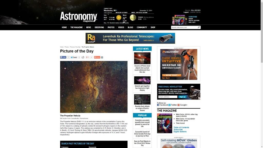 Astronomy Magazine Propeller 2013